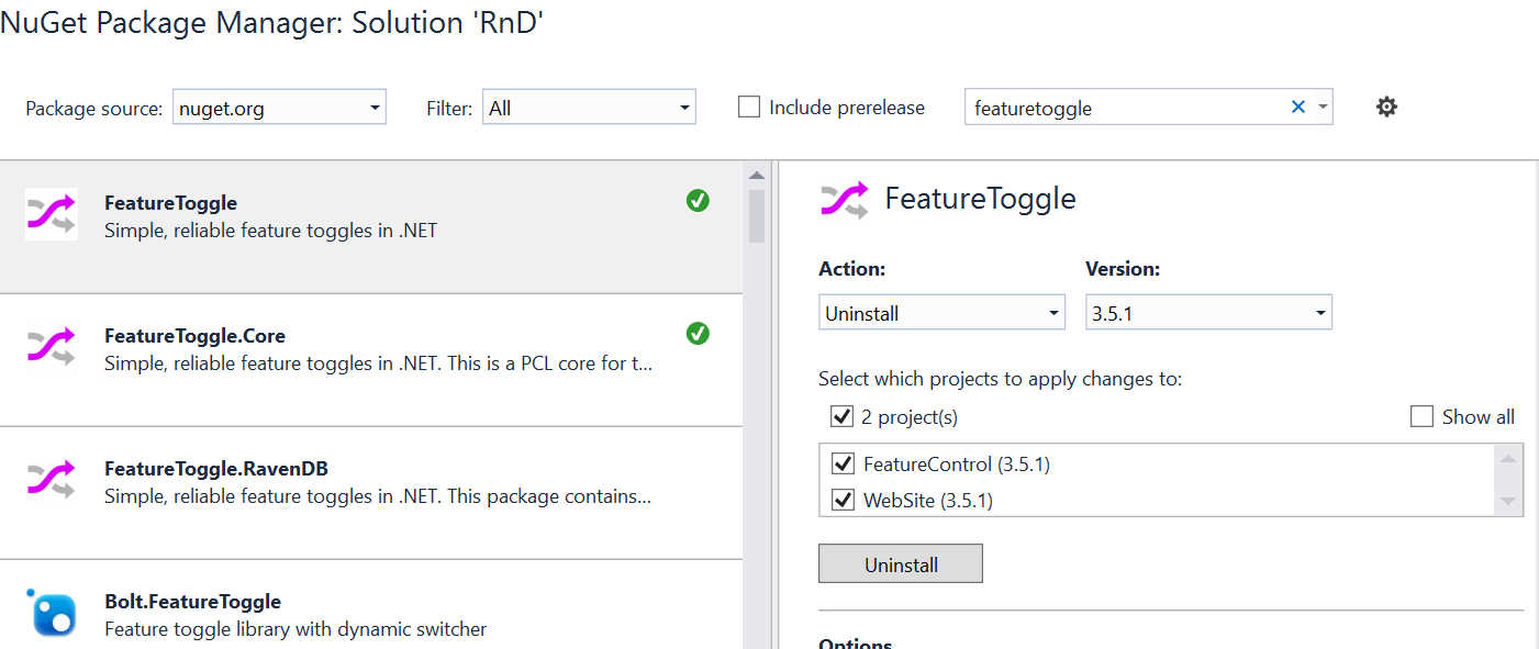 Installing FeatureToggle in NuGet